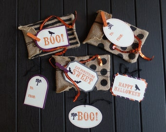 Halloween Burlap Bags and Tags