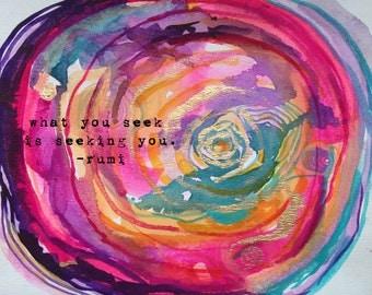 inspirational print - inspiring print - rumi quote - rumi print - what you seek is seeking you - inspiring quote print - framed quote print