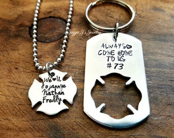 Always Come Home To Us Firefighter Gift Set, Firefighter Husband and Wife Set, Custom Hand Stamped Maltese His & Hers Set, Fireman Gift