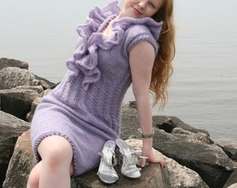 Purple Ruffle Knitted Dress - One of a Kind - Design and Hand Knitting by Anna Stoklosa