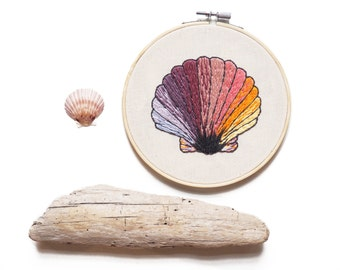 "Seashell Gradient Embroidery 6"" Hoop Art"