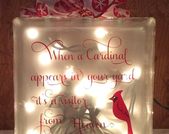 When a cardinal appears in your yard it's a visitor from Heaven Glass block, cardinal glass block, lighted glass block, etched glass 8x8