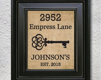 House Warming Gift, Personalized Housewarming Gift, New House Gift, New Home Address Sign, Rustic home decor Burlap Print -3T