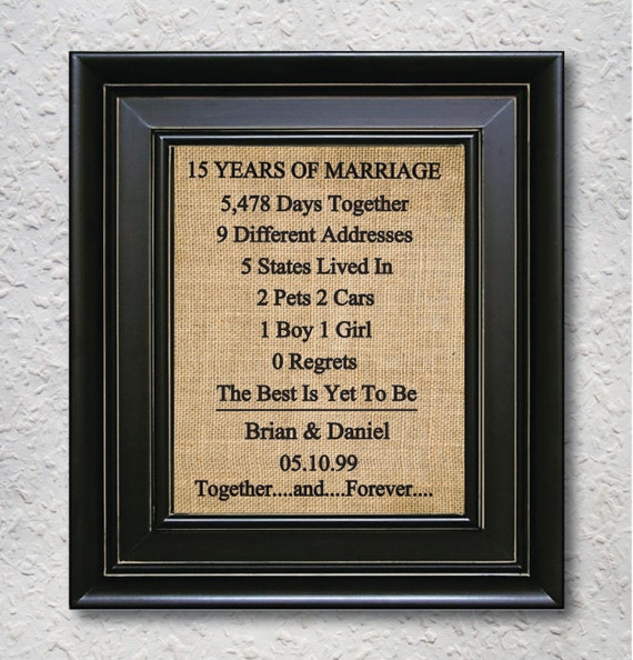 15th Wedding Anniversary Gift Ideas For Parents : 15th Anniversary gift ,15 Year Anniversary Gift, Personalized Gift ...