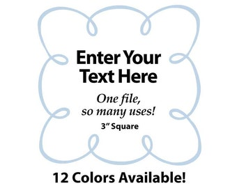 """EDITABLE Printable 3"""" Sq. Blue LOOPY SCROLL - Address Labels, Business Cards, Price Tags, Gift Tags & more - Change text again and again"""