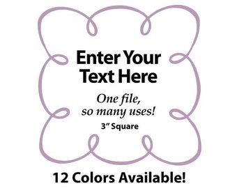 """EDITABLE Printable 3"""" Sq. Lilac LOOPY SCROLL - Address Labels, Business Cards, Price Tags, Gift Tags & more - Change text again and again"""