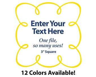 "EDITABLE Printable 3"" Sq. Yellow LOOPY SCROLL - Address Labels, Business Cards, Price Tags, Gift Tags & more - Change text again and again"