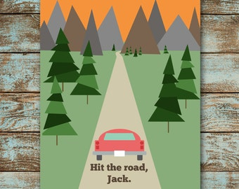 Hit the Road, Jack | Vintage-inspired Travel Poster | Travel | Mountains | Road Trip | 4x6 5x7 8x10 | Art Print