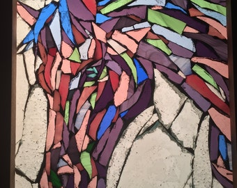 Purple Horse Stained Glass Mosaic