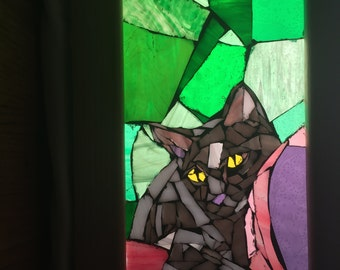 Gray Cat Stained Glass Mosaic