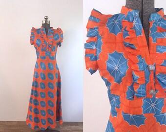 1960s Orange Hawaiian Maxi Dress | small/medium