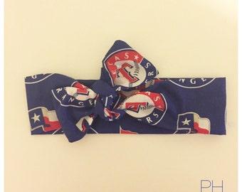 Texas Rangers Head Wrap, Top Knot, Newborn Baby - Adult Sizes