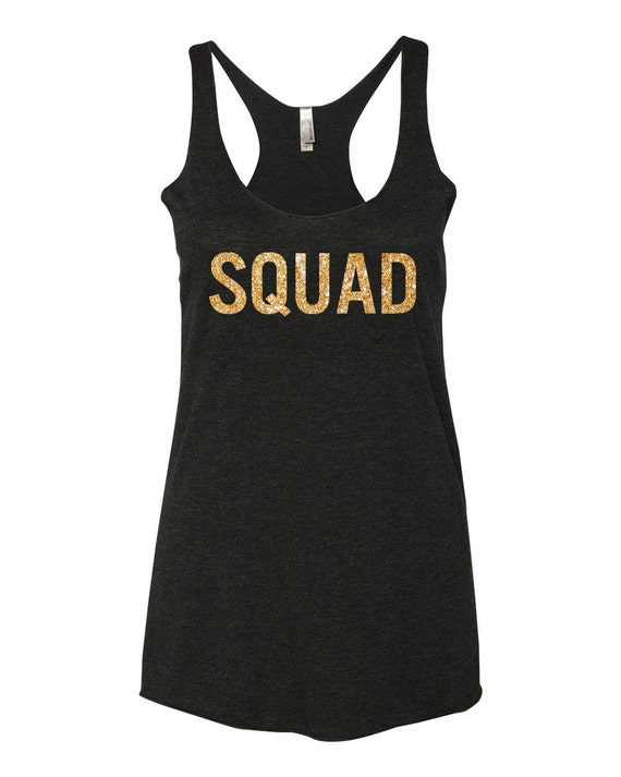 Squad tank tops glitter gold bachelorette shirts by foveam for Bucket squad gold shirt