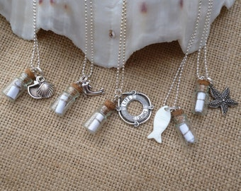 Miniature Message in a Bottle Necklace. Personalised with your own message.Silver Chain. Charms