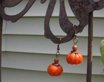 Handcrafted Pumpkin Earrrings