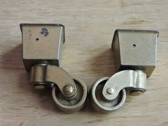 Two 2 Vintage Bronze Brass Metal Chair Furniture Wheels