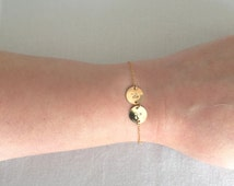 Two Initial Discs Bracelet,Silver Disc Bracelet,Gold Disc Bracelet,Double Disc Bracelet,Personalised Bracelet,Minimalist Bracelet,StampedEve