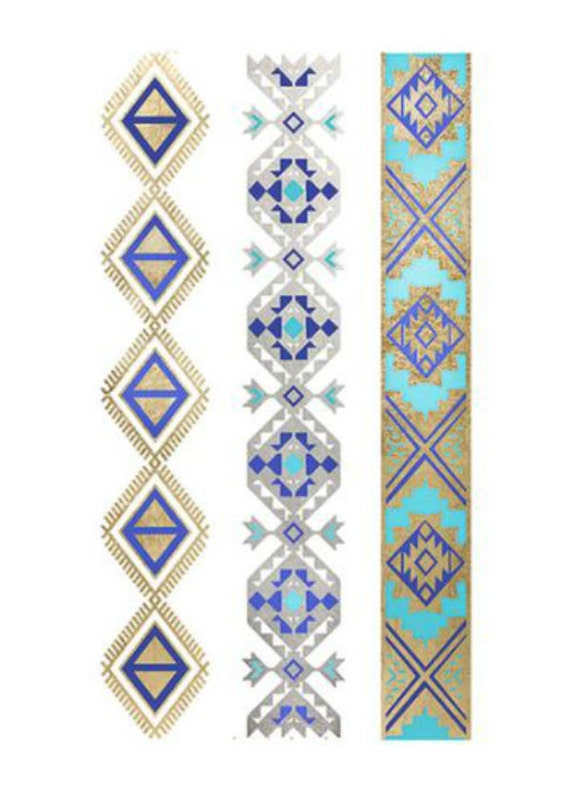 Aztec pattern metallic tattoo armbands turquoise by for Aztec armband tattoos
