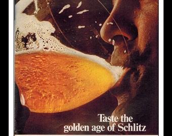 """Vintage Print Ad March 1969 : Schlitz Beer """"Taste The Golden Age Of Schlitz"""" Wall Art Decor 8.5"""" x 11"""" Advertisement"""
