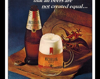 """Vintage Print Ad March 1969 : Michelob Beer Wall Art Decor 8.5"""" x 11"""" Advertisement"""