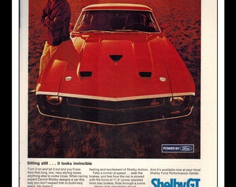 "Vintage Print Ad March 1969 : Ford Shelby Cobra GT 350/500 Automobile Wall Art Decor 8.5"" x 11"" Advertisement"