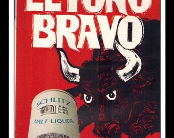 "Vintage Print Ad April 1969 : El Toro Bravo Schlitz Malt Liquor Wall Art Decor 8.5"" x 11"" each Advertisement"