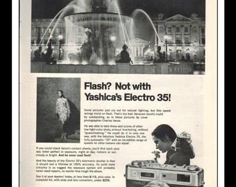 "Vintage Print Ad April 1969 : Yashica Electro 35 Camera Electronics Advertisement Wall Art Decor B&W 8.5"" x 11"""