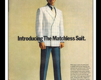 "Vintage Print Ad April 1969 : HIS Clothing ""Matchless Suit"" Fashion Clothing Wall Art Decor 8.5"" x 11"" Advertisement"