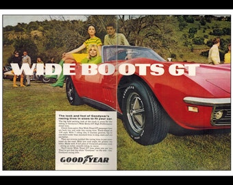 """Vintage Print Ad April 1969 : Goodyear Wide Boots GT 2 Page Automobile Wall Art Decor 16"""" x 11"""" Advertisement"""