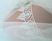 SALE Vintage Style Garter, Wedding Garter, Bridal Garter, Blue Garter, Ivory Garter, Crystal Garter, Guipure Lace Garter, Lace Garter