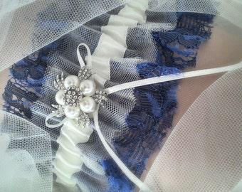Vintage style Garter, Wedding Garter, Bridal Garter, Blue Garter, Tulle Garter, Lace Garter, Wedding a Gift, Bridal gift, Style:Aurora Royal