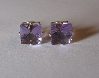 Natural amethyst sterling silver 925 earrings