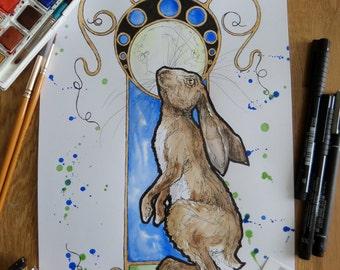 Moongazing hare, Hare, Art nouveau, Original art, OOAK, Wildlife