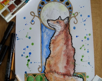 Moongazing Fox, fox, British wildlife, animal art, OOAK, Original art, Art nouveau