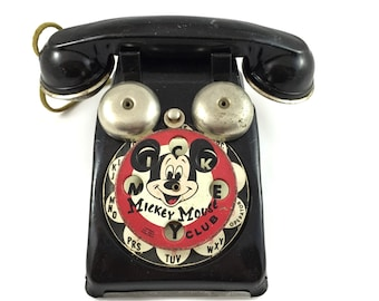 Vintage Toy Telephone, Mickey Mouse, Rare