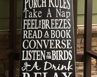 Porch Rules Sign/ Chalkboard Style Sign/ 12x24 wood sign/ handpainted/ You choose colors/ Summer decor