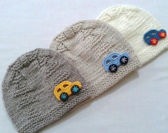 Car baby knit hats, Baby Boy Hats, Christmas gift, Infant Boy Hats, Photo prop hats, Shower baby Gift, baby accessories, newborn boy beanie