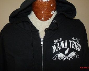 """Grateful Dead/Merle Haggard inspired """"Mama Tried"""" zip-up Hoodie"""