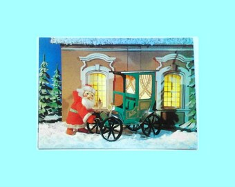 Vintage Soviet postcard, Happy New Year, Santa Claus, Christmas, Xmas, USSR