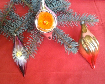 Set of 3 Vintage Soviet Glass Christmas tree decoration / Christmas tree ornaments / Made in USSR, 60-70s