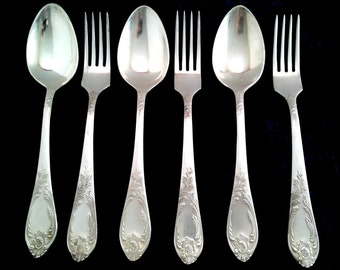 Soviet Vintage Flatware / Set of 3 pairs - Nickel Silver Spoons and Forks / Made in USSR in 1970s