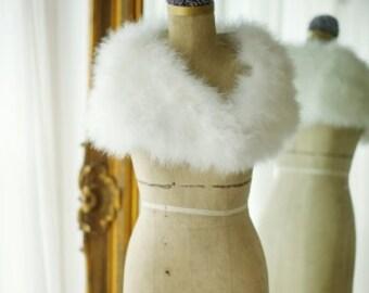 Vintage Inspired Marabou Feather Shrug - Ivory