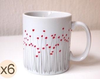 Handpainted poppy mug made of Limoges porcelain - set of 6 mugs