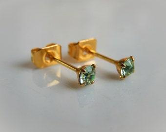 Mint Stud Earrings - mint Swarovski crystal stud earrings - Mint swarovski posts