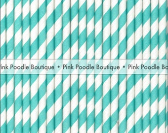 Aqua Blue & White Stripe PAPER STRAWS / Drink STIRRERS (25 pc) -- pif . pay it forward . aok . act of kindness . free . clearance sale
