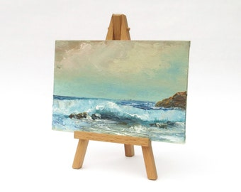 Sea painting Original landscape Small oil painting Small painting on deco easel Nautical art Card board painting Gift idea Home decor