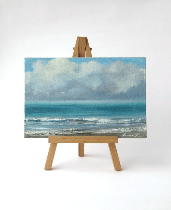 Sea painting oil on canvas board small sea painting on mini for Small canvas boards