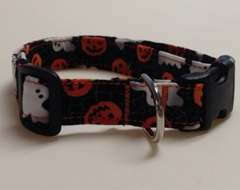 Adjustable Halloween Pumpkin and Ghost Print Dog Collar
