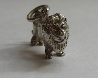 Vintage silver lion charm