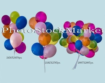Balloons PNG Overlay Pack 3 large png files - Colorful Balloon bouquet PNG Cutout - Photoshop